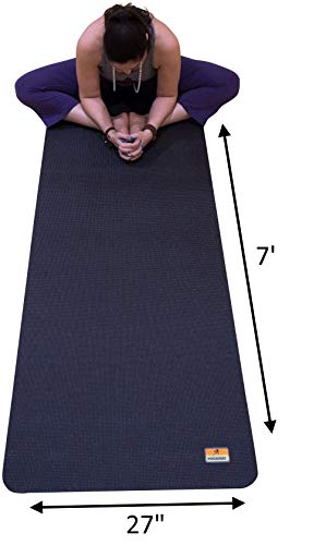 """Pogamat Large Yoga Mat and Stretching Mat - 7ft X 27"""" x 7mm Thick Anti-Tear Non Slip Exercise Yoga Mats Extra Long 7 ft Memory Foam Yoga Mats for Yoga and Cardio Fitness Mat Without Shoes"""