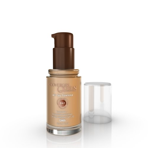 COVERGIRL Queen All Day Flawless Foundation Amber Glow Q805, 1 oz (packaging may vary)