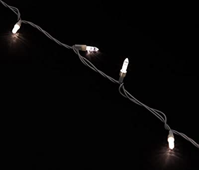 "Holiday Lighting Outlet M5 LED Christmas Mini Lights, Mini Ice, M6, White Cord, 70LT 4"" Spacing, 23.7'"