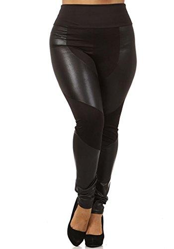 CurvyLuv Women's Plus Size Knit Leggings Faux Leather Pleather Panel Accent Pants (Large, ()