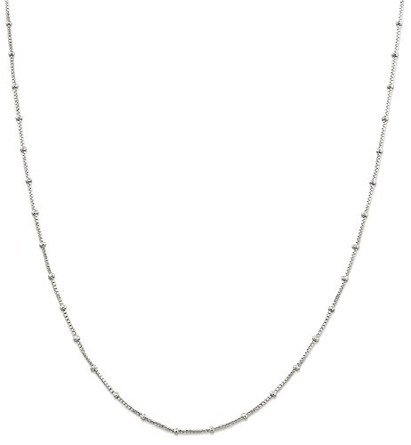 ing Silver 1.2500mm Beaded Link Box Chain Necklace 16 Inch Ball Beadsed Fine Jewelry Gift Set For Women Heart (16 Inch Beaded Chain)