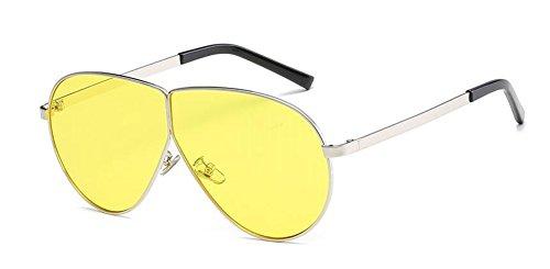 inspirées en soleil cercle rond du de vintage lunettes Film style métallique retro Lennon polarisées Jaune gfUHxRtq