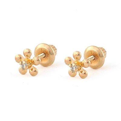 14K Yellow Gold Diamond Flower Screw Back Stud Earrings For Girls by Loveivy