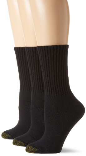Gold Toe Women's 3-Pack Ultratec Crew Socks, Black, Shoe Size: ()