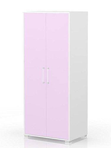 Kinderzimmer - Drehtürenschrank/Kleiderschrank Benjamin 11, Farbe: Weiß/Rosa - Abmessungen: 198 x 84 x 56 cm (H x B x T)