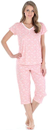 Sleepyheads Women's Sleepwear Cotton Short Sleeve V-Neck Top and Capri Pajama Set (SHCJ1730-5048-LRG)