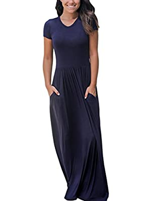Dearlovers Women Short Sleeve Loose Plain Long Maxi Casual Dress with Pockets