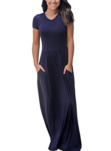 Dearlovers-Women-Short-Sleeve-Loose-Plain-Long-Maxi-Casual-Dress-with-Pockets