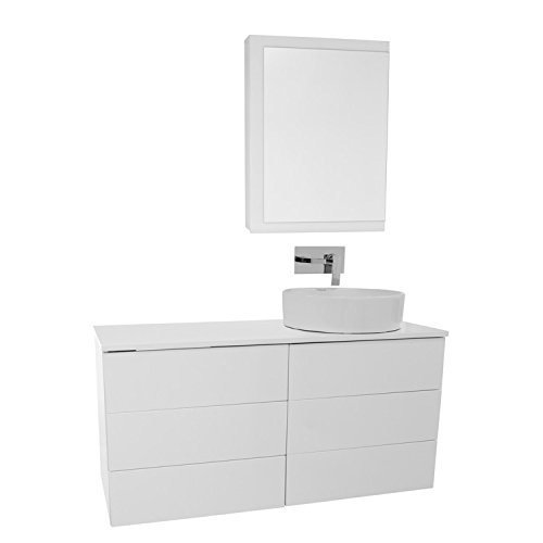 """60%OFF Iotti Iotti TN1661 Time Vessel Sink Bathroom Vanity Wall Mounted with Medicine Cabinet Included, 47"""", Glossy White"""