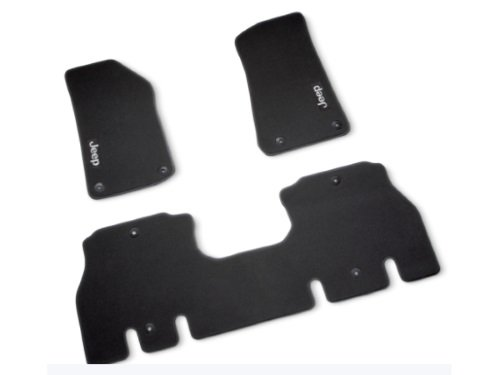 82215201AB 2018 Jeep Wrangler Floor Mats - two front row mats and a second row runner mat