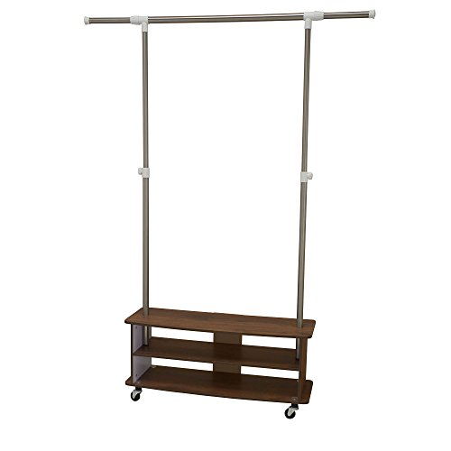Household Essentials 7063-1 Rolling Garmant Rack with Storag