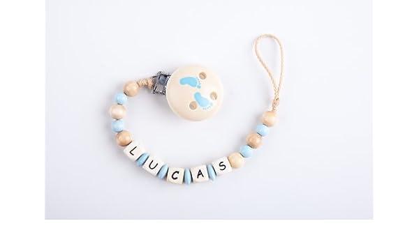 Perle infantil – Cadena para chupete con nombres Lucas – Baby pies Joven – Mano: Amazon.es: Bebé