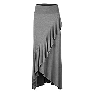 LL Womens Wrapped High Low Ruffle Maxi Skirt - Made in USA 25