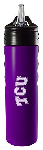 Texas Christian University-24oz. Stainless Steel Grip Water Bottle with Straw-Purple (University Texas Christian)
