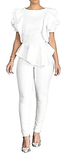(PrettySoul Women's Elegant Round Neck Short Ruffle Sleeve Rose Peplum Blouse Shirt Tops Clubwear White, Small)