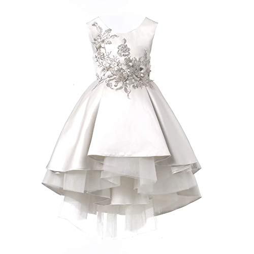 (Ourlove Dress Satin First Communion Dresses High Low Pageant Dress Sleeveless Flower Girl Dress Appliques Ball Gown(DH) White 6)