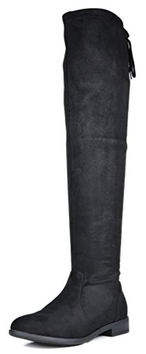 DREAM PAIRS Women's Upland Black Suede Over The Knee Thigh High Winter Boots - 9.5 M US by DREAM PAIRS