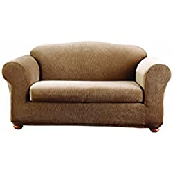 Sure Fit Stretch Stripe 2-Piece - Sofa Slipcover - Brown (SF37630)