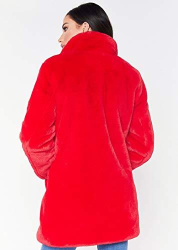 Sintética Larga Invierno Anchos Ropa Talla Rojo Chaqueta Outerwear Solapa Mujer Grande Moda Elegantes Unicolor De Abrigo Manga Piel Termica Vintage Espesar qX4wgztWxF