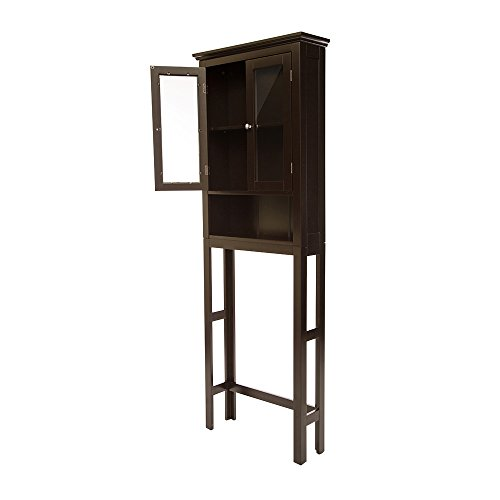 Glitzhome Wooden Free Standing Storage Cabinet with Glass Double Doors, Espresso