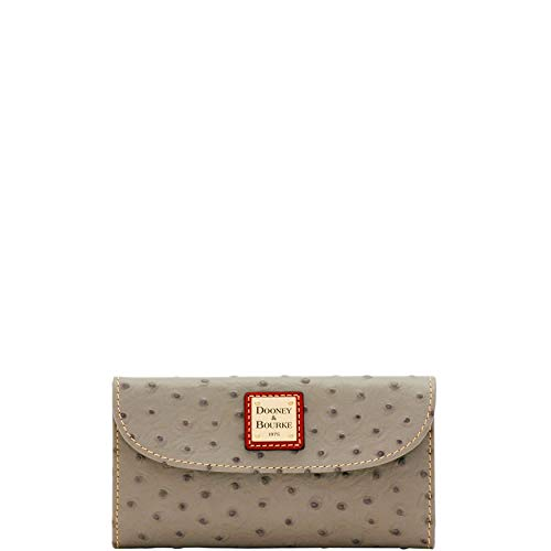 Bourke Ostrich - Dooney and Bourke Ostrich Continental Clutch Wallet Grey/Tan