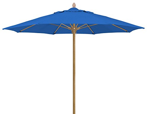FiberBuilt Umbrellas Bridgewater Umbrella with Sunbrella Fabric Canopy & FiberTeak Aged Teak Finish Pole, 8', Pacific Blue (Umbrella Fiberbuilt Beach)