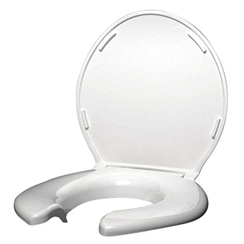 Big John 3-W Oversized Open Front Toilet Seat with Cover and Stainless Steel Hinges - For Round Or Elongated Toilet Bowls - Weight Capacity 1,200 Pounds - White