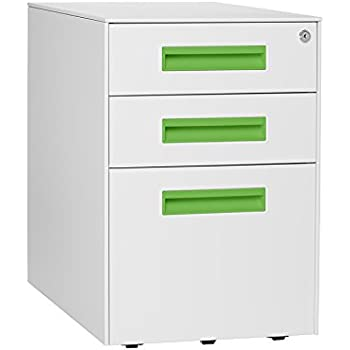 Amazon Com Poppin White Aqua Stow Rolling 3 Drawer