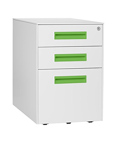 Stockpile Square Mobile 3-Drawer File Cabinet (White/Bright Green)