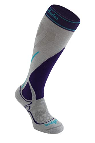 Bridgedale Women's Midweight Ski - Merino Endurance Socks, Large, Graphite/Purple ()