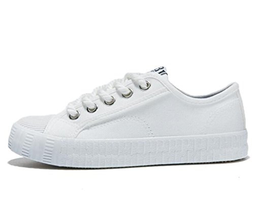 SHFANG Señora Zapatos Simple Clásico Plano Bottom Zapatos De Lona Estudiantes Escuela Diaria Comfortable Ocio Tres Colores White