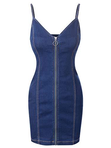 (Design by Olivia Women's Spaghetti Strap Slim Fit Front Zipper Up Denim Mini Bodycon Dress Blue)