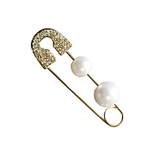 LECCECA 1PC Artificial Pearl Earrings Stud Crystal Brooch Pin Jewelry Gold