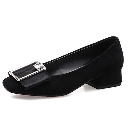 Noir ZHZNVX Chaussures Femme Daim Printemps Confort Talons Chunky Heel noir 37 EU