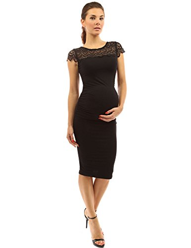 PattyBoutik Mama Crewneck Crochet Lace Inset Ruched Sheath Dress (Black L)