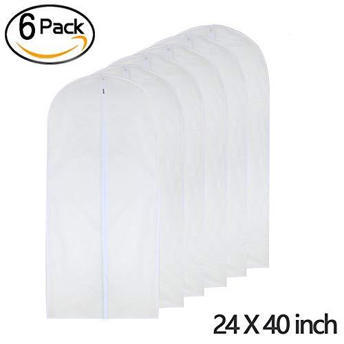 Garment Bag Clear 24'' x 40'' Suit Bag Moth Proof Garment Bags White Breathable Full Zipper Dust Cover for Suit Dance Clothes Closet Pack of 6