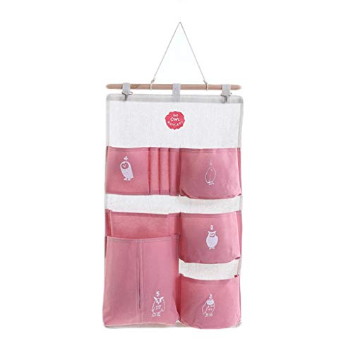 Fan-Ling Multi-Storey Hanging Bag,Multifunctional Storage Hanging Bag Wall Door Rear Hanging Multi-Pocket Storage Bag,Cotton Linen Waterproof Door After Wall Hanging Bag (Pink) (Quest Dehumidifier)