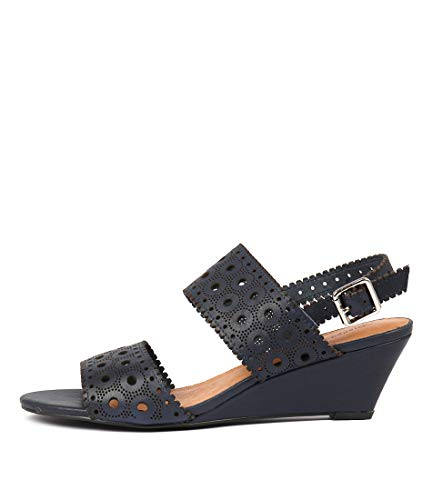 DJANGO & JULIETTE McKayla Womens Shoes Medium Heels Summer Wedges navy leather