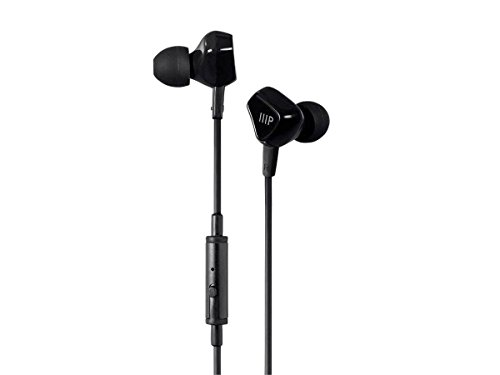 Price comparison product image Monoprice Triple Driver Earbuds Headphones - Black with in-line Microphone and 1-Button Control for Apple iPhone iPod Android Smartphone Samsung Galaxy Tablets MP3