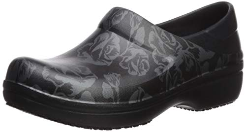 Crocs Women's Neria Pro II Graphic Clog, Metallic Rose/Black, 4 M US (Womans Anti Slip Work Shoe)