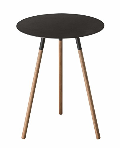 Cheap  Wood & Steel Mid-Century Modern Round Side Table in Black Finish