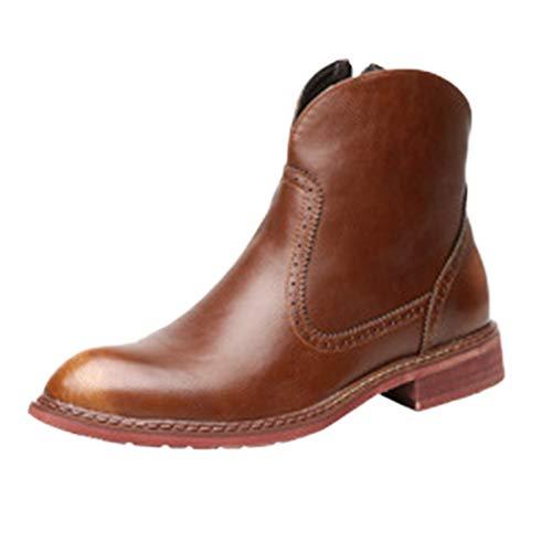 Stivali Martin Stivali Adulti Desert Boots Pelle Classica Stivali A Punta Stivaletti Militari A Tubo Basso Arricchiti da Stivali di Pelle Brown
