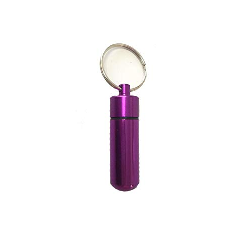 (Potelin 1 Pcs Portable and Practical Aluminum Mini First Aid Pill Bottle Container Keychain)