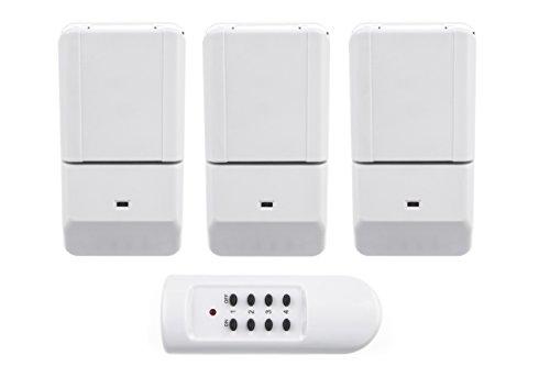 HUBER COMFY 5 Funkschalter Set für den Innen-und Außenbereich, drei Funksteckdosen 1000 Watt und eine Fernbedienung