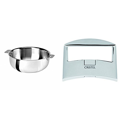 Cristel SR22QMP Saucier, Silver, 3 quart with Cristel Casteline Plcx Side Handle, Silver by
