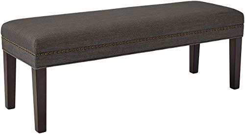 Ravenna Home Haraden Modern Upholstered Bench with Nailhead Trim, 48 W, Grey