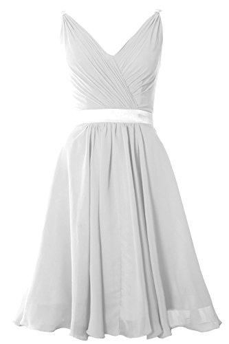 MACloth Women Pleated Chiffon Short Bridesmaid Dress Wedding Cocktail Party Gown Blanco