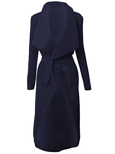 longue Italien femme Jewellery Manteau ceinture Kim Cardigan KARDASHIAN cascade Veste Bue CELEBRITY Cape Navy rPq0prT