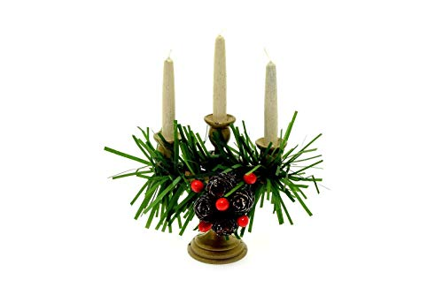 Byers Choice Caroler 3 Candle Candelabra w/Pinecones & Greenery