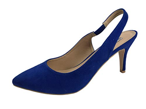(Forever Collection Womens Sling Back Pumps Mid to Low Heel Slip On Shoes, Blue Suede, 8)